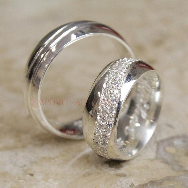 Alianças Prata Compromisso Namoro Redonda Abaulada Cravejada Pedra Zircônia 9mm 16 Gramas