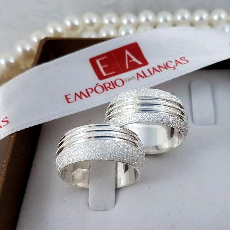 Alianças Prata Compromisso Namoro Redonda  Fosca Diamantada 10mm 18 gramas Anatômica Trabalhada