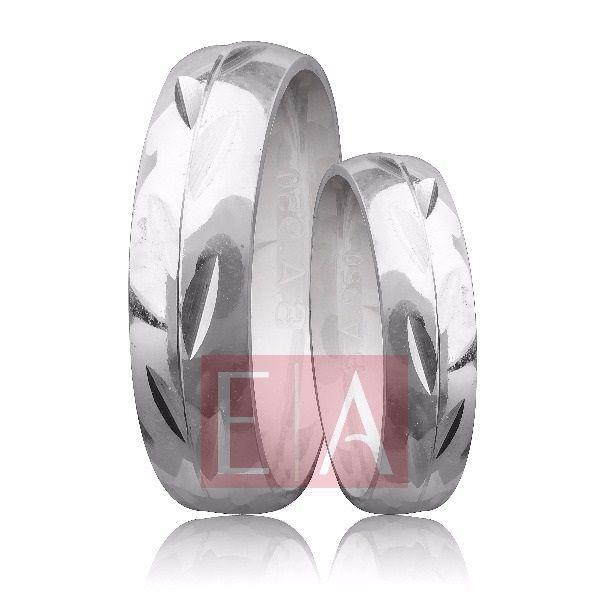 Alianças Prata Compromisso Namoro Redonda Fosca Diamantada Trabalhada Friso 5 mm 10 gramas
