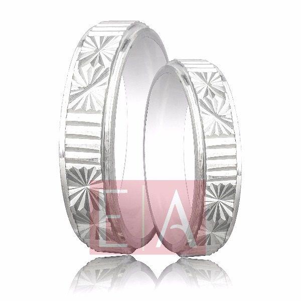 Alianças Prata Compromisso Namoro Quadrada Lisa Diamantada Trabalhada Friso 5 mm 8 gramas