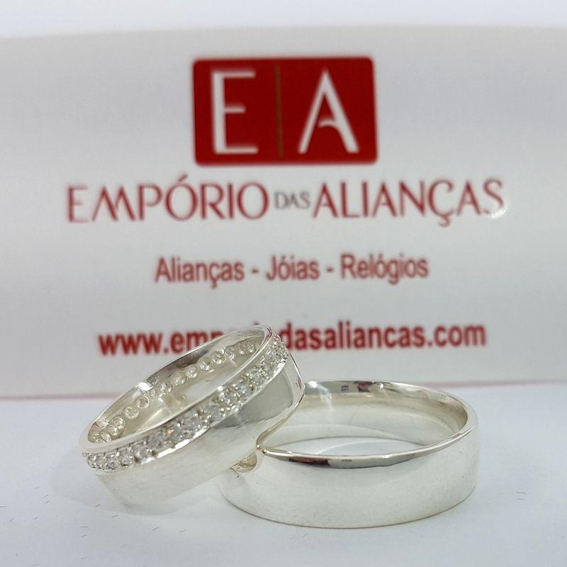 Alianças Prata Compromisso Namoro Redonda Pedra Zircônia Anatômica 7mm 11 Gramas