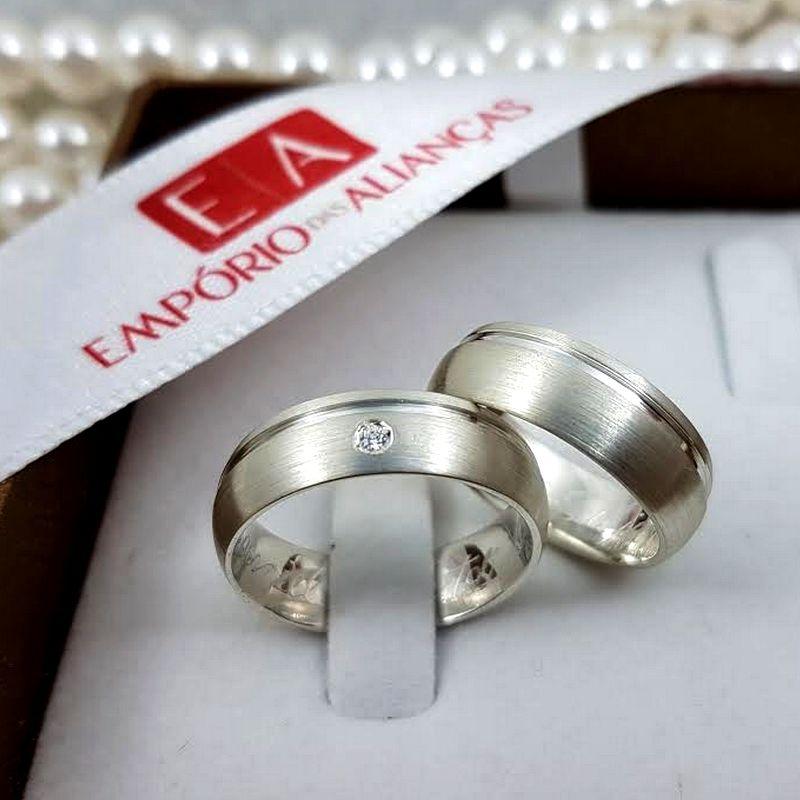 Alianças Prata Compromisso Namoro Redonda Pedra Zirconia Lisa  Fosca Diamantado 6mm 9 gramas Anatômica
