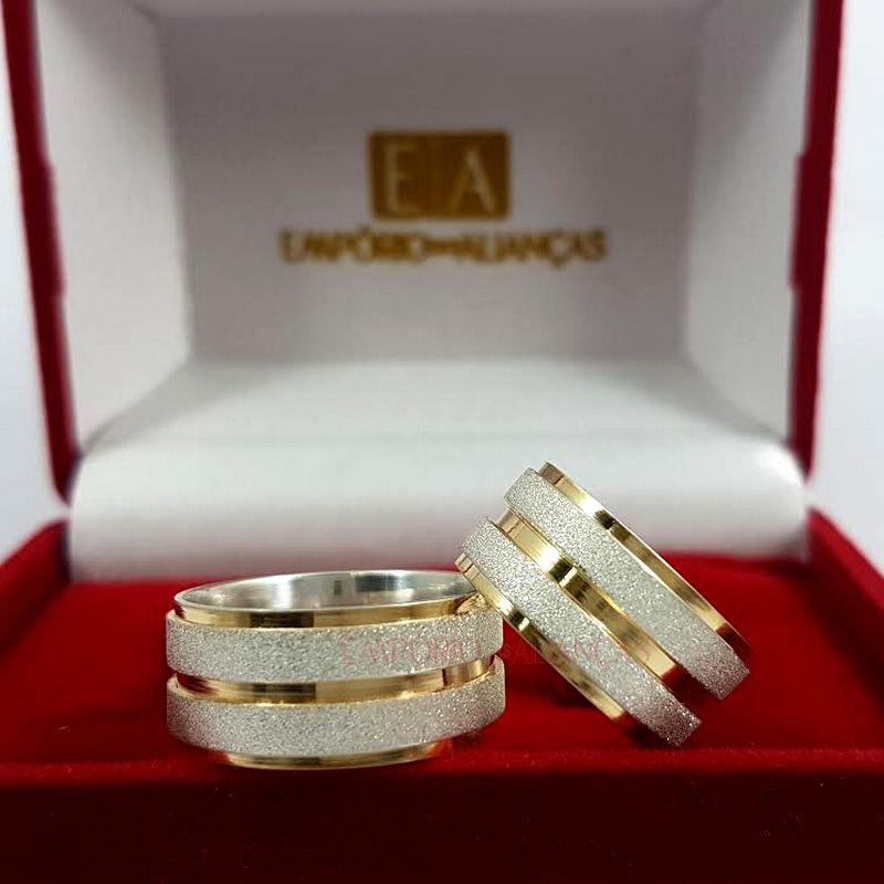 Alianças Prata Namoro Compromisso Quadrada Banho Ouro Anatômica 9mm 15 Gramas o Par