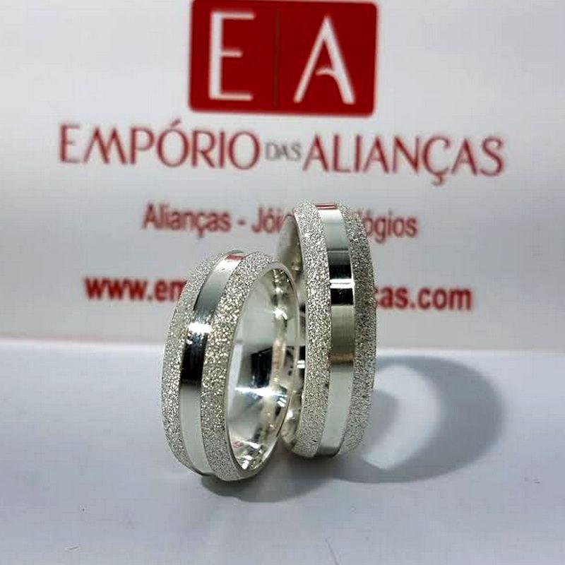 Alianças Prata Namoro Compromisso Quadrada Fosca Anatômica 6mm 11 Gramas