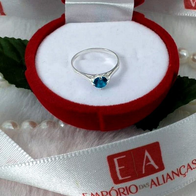 Anel Prata Feminino Aro Desenhado Pedra Azul Bebe