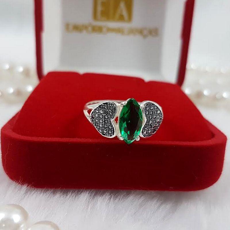 Anel Prata Feminino Coração Lateral Pedra Verde