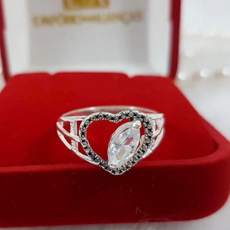 Anel Prata Feminino Coração Trabalhado Pedra 2 Aros Zircônia