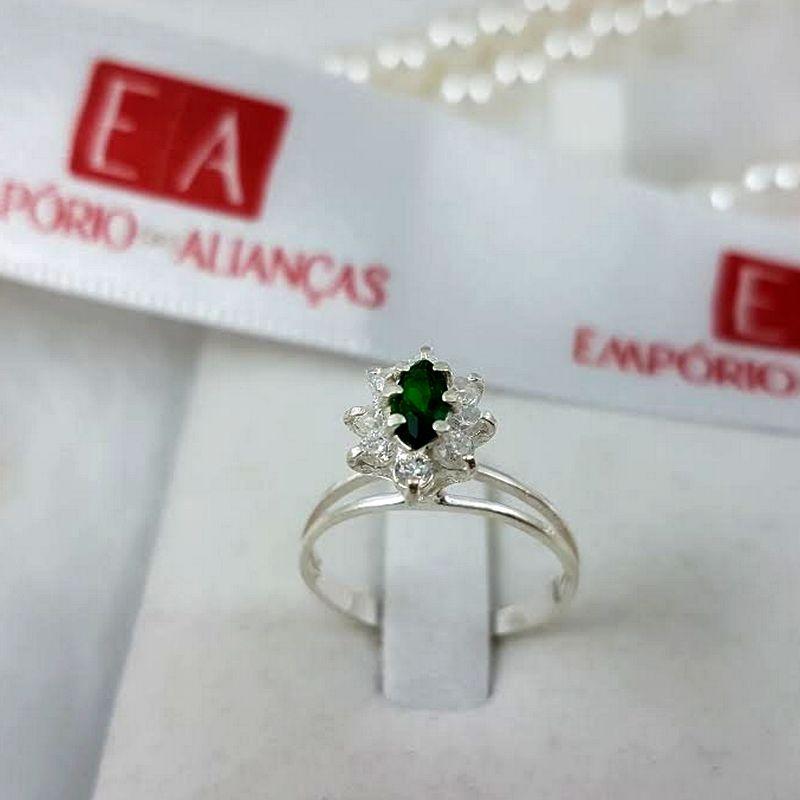 Anel Prata Feminino Cravejado Chuveiro Pedra Zircônia Verde e Branca