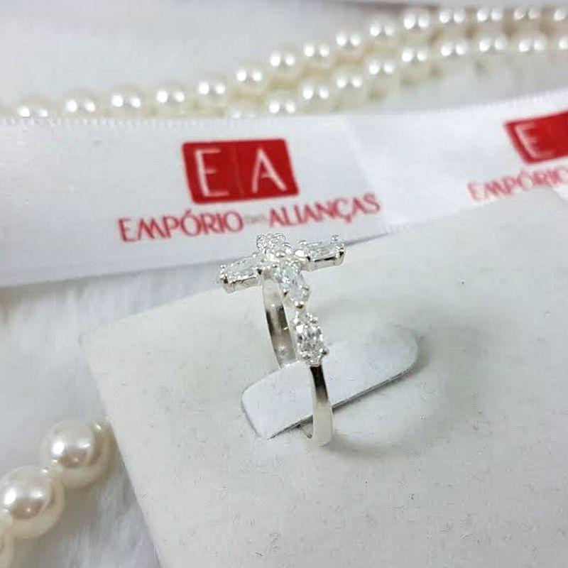 Anel Prata Feminino Cruz Crucifixo Pedra Zircônia Branca
