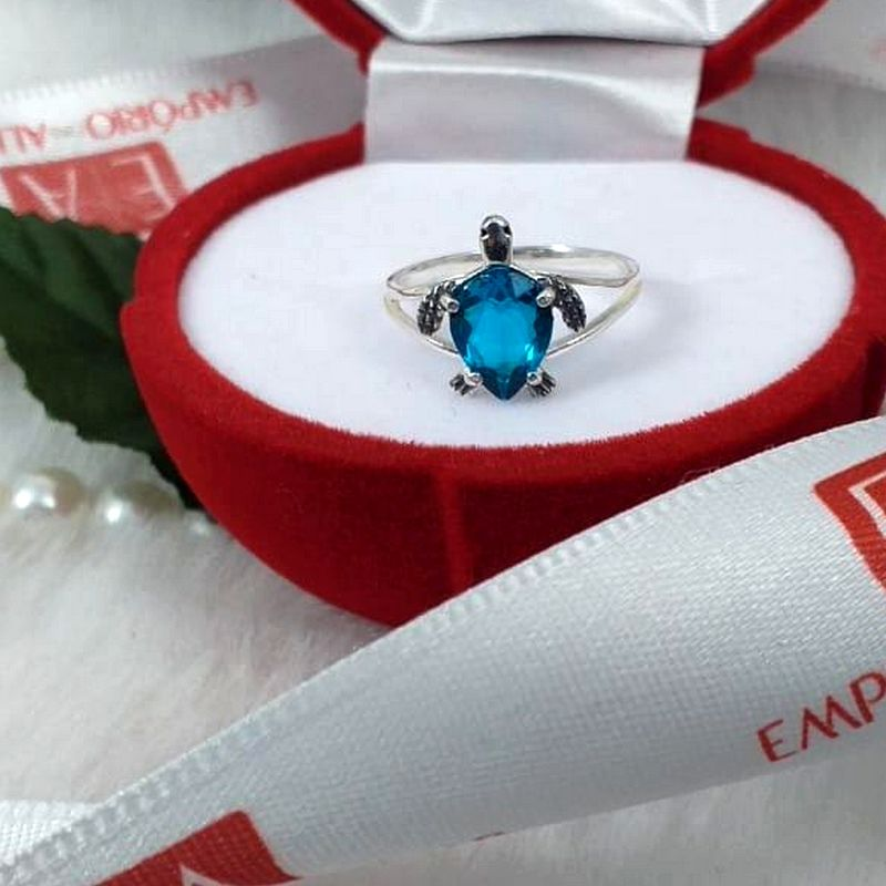 Anel Prata Feminino Tartaruga Marinha Pedra Azul Zircônia