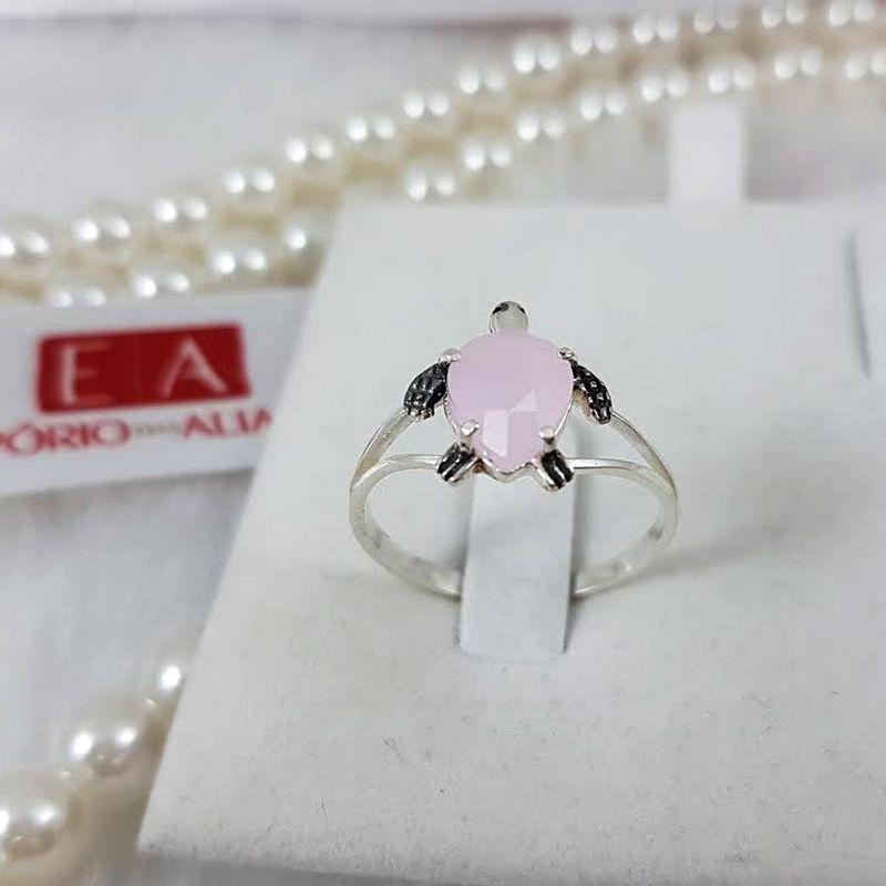 Anel Prata Feminino Tartaruga Marinha Pedra Rosa Leitosa Zircônia
