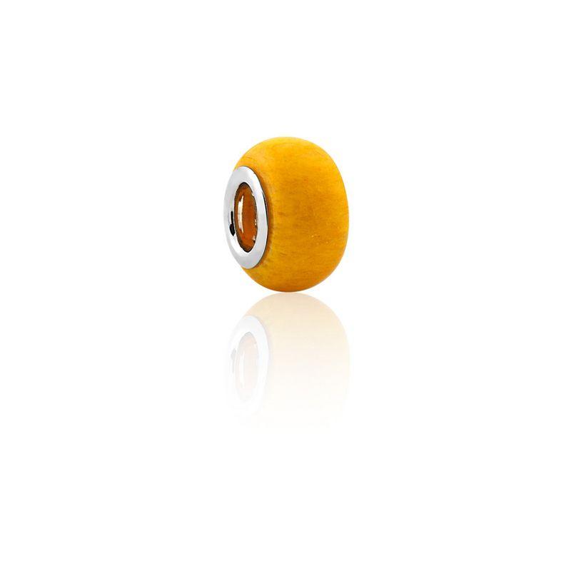 Berloque Prata Amazonita Linha Pedras Naturais Pendurado Esmaltado Amarelo