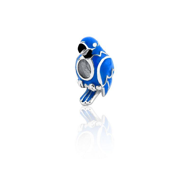 Berloque Prata Arara Linha Animais Pendurado Esmaltado Azul