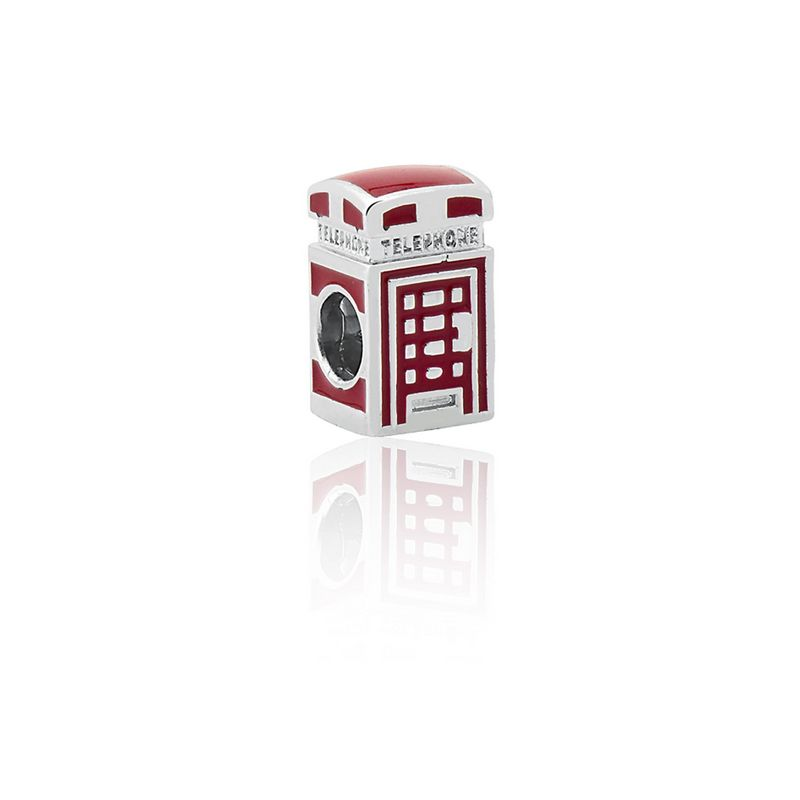 Berloque Prata Cabine Telefônica Londres Linha Viagens Separador Esmaltado Vermelho