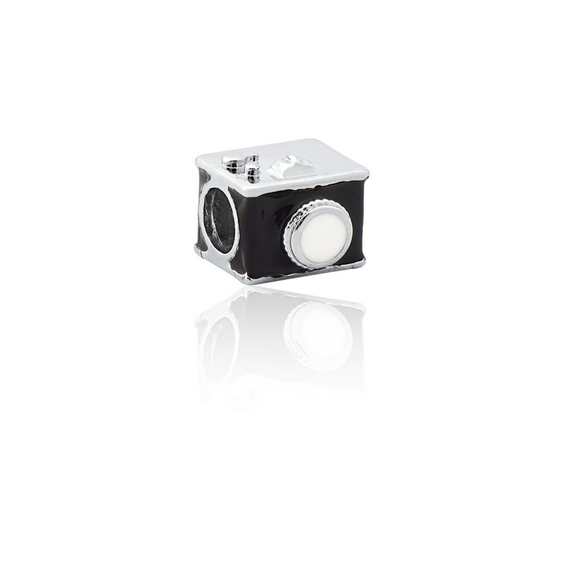 Berloque Prata Câmera Fotográfica Linha Profissões Pendurado Esmaltado Preto