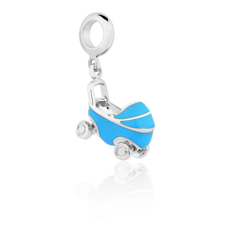Berloque Prata Carrinho de Bebe Linha Família Pendurado Esmaltado Azul