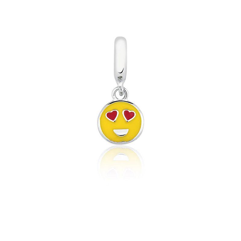 Berloque Prata Emoction Amor Linha Hobbies Pendurado Esmaltado Amarelo