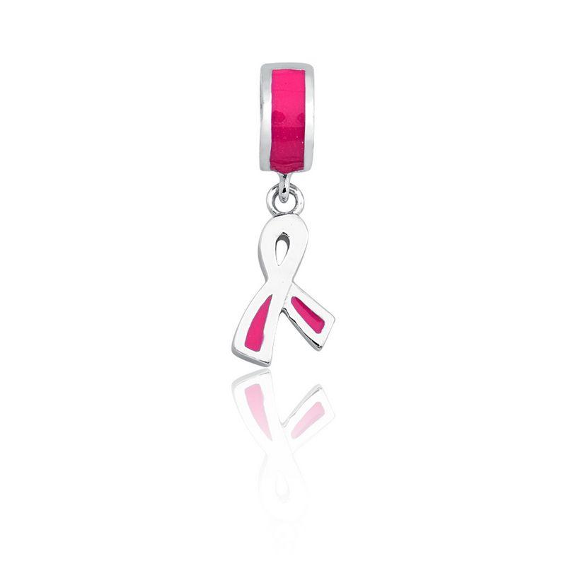 Berloque Prata Laço Linha Símbolos Pendurado Esmaltado Rosa