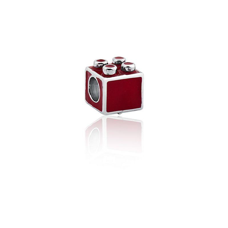 Berloque Prata Lego Linha Charms Pink Star Pendurado Esmaltado Vermelho