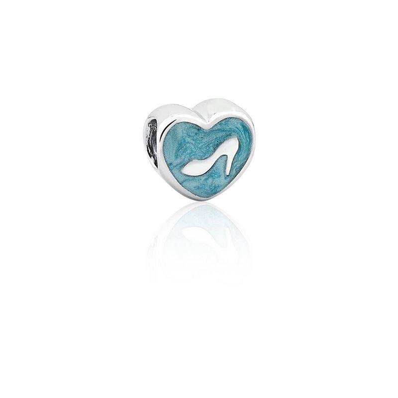 Berloque Prata Salto Mãe Linha Amor Separador Esmaltado Azul