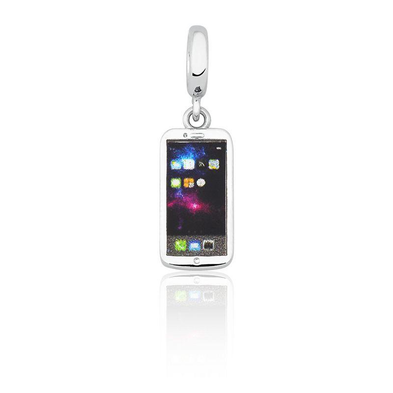 Berloque Prata Smartphone Celular Linha Moda Pendurado Esmaltado
