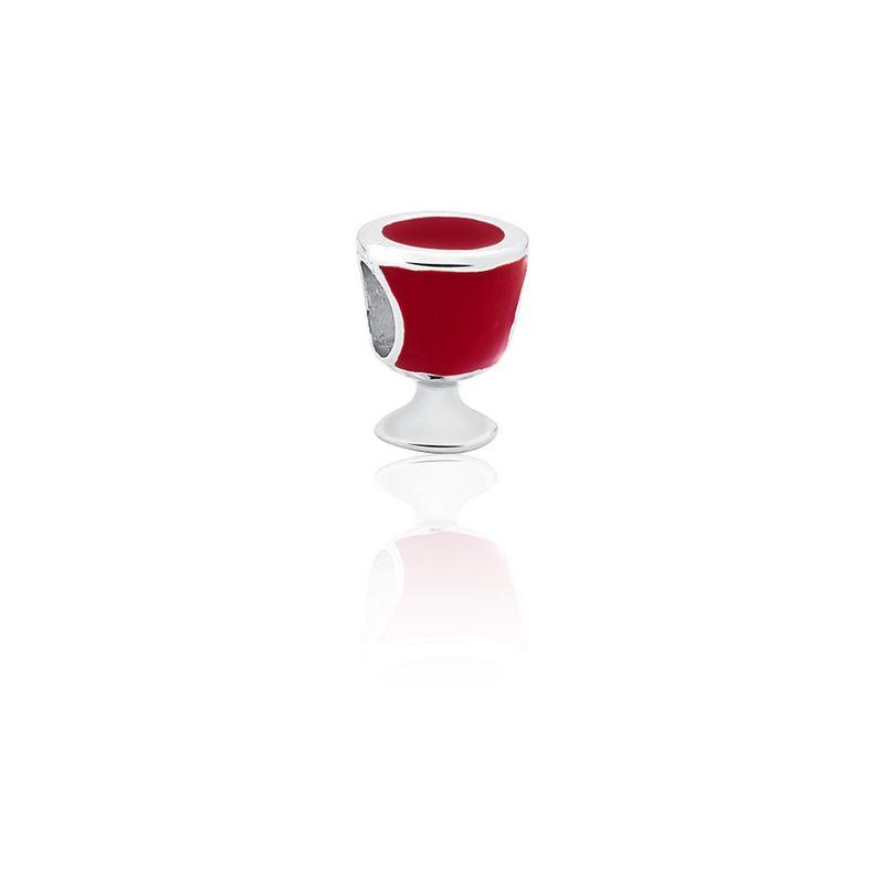 Berloque Prata Vinho Linha Bebidas Pendurado Esmaltado Vermelho