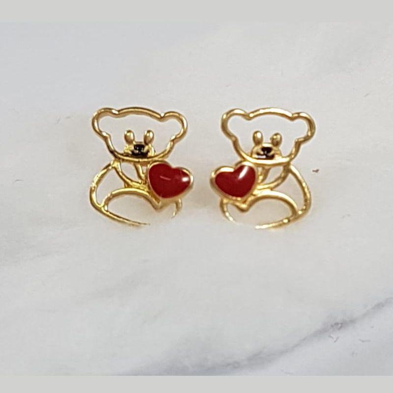 Brinco Ouro 18k Feminino Urso Coração Esmaltado Vazado