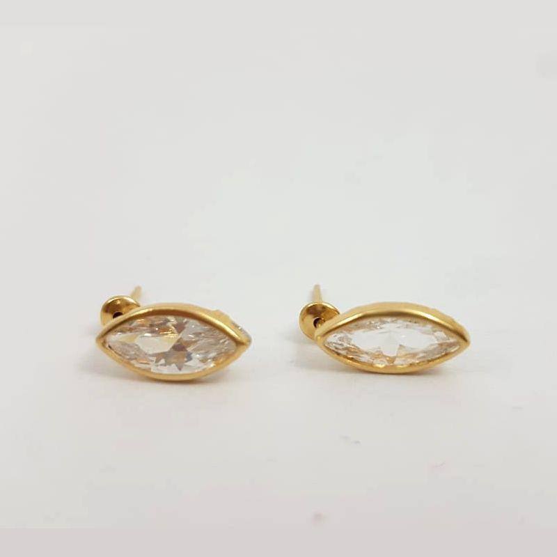 Brinco Ouro Feminino Gota Pedra Zircônia 18k Médio
