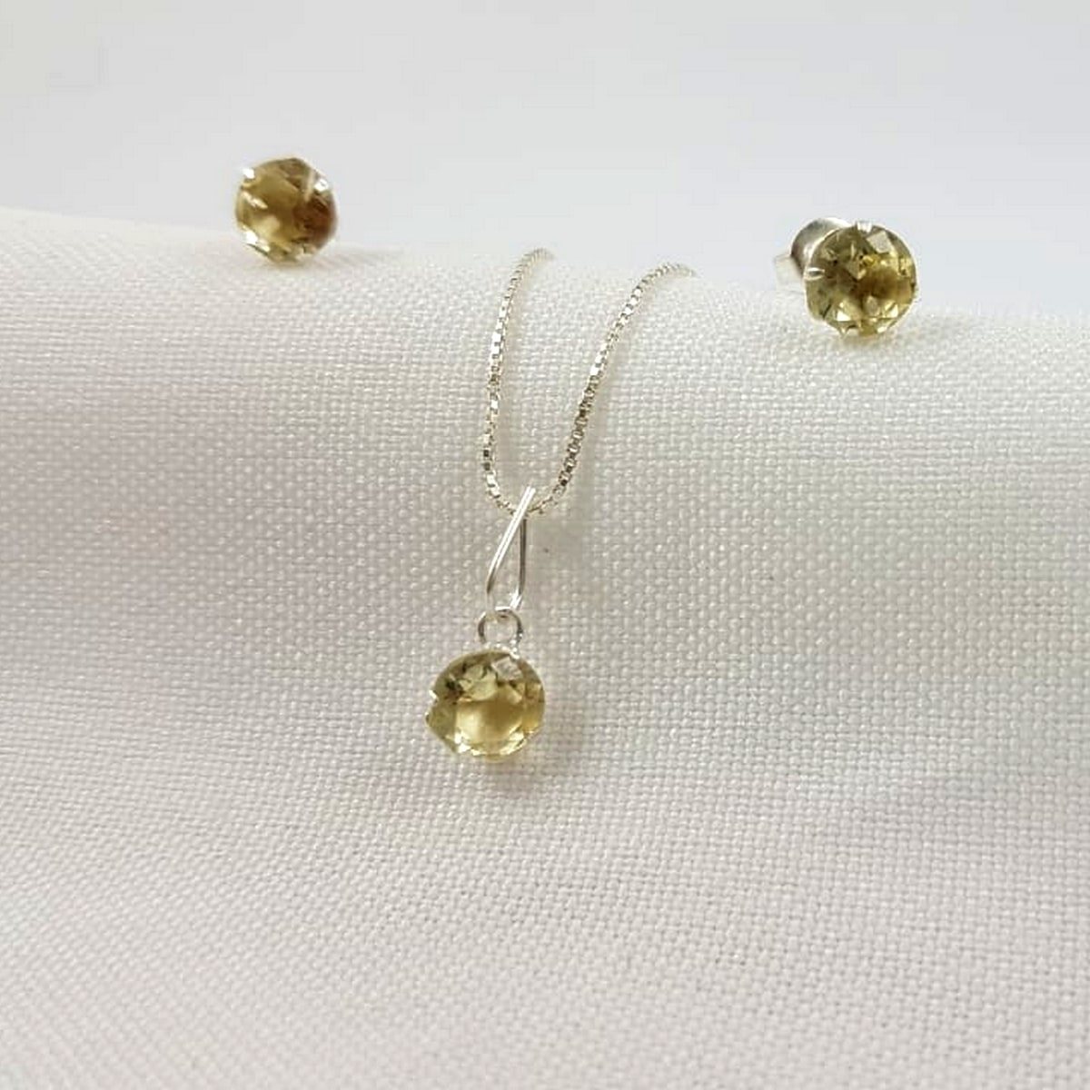 Conjunto Prata Feminina Pedra Amarela