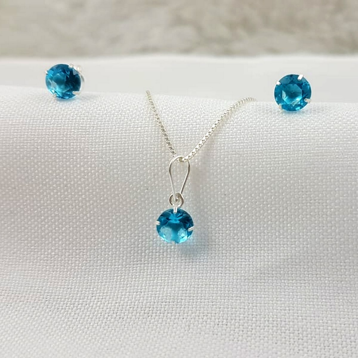 Conjunto Prata Feminina Pedra Azul Bebe