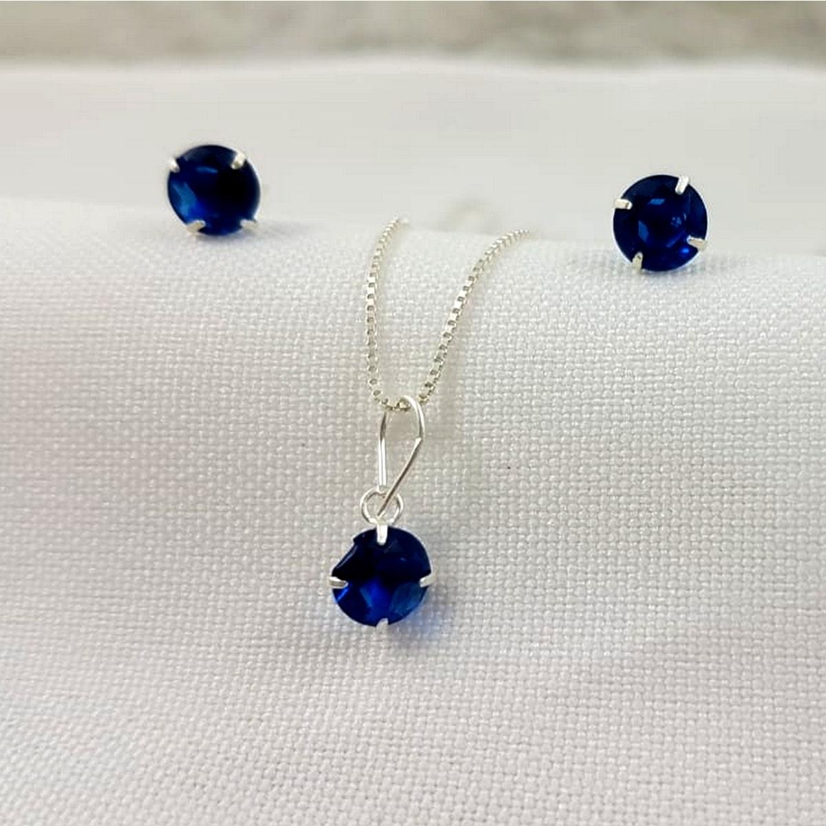 Conjunto Prata Feminina Pedra Azul Marinho