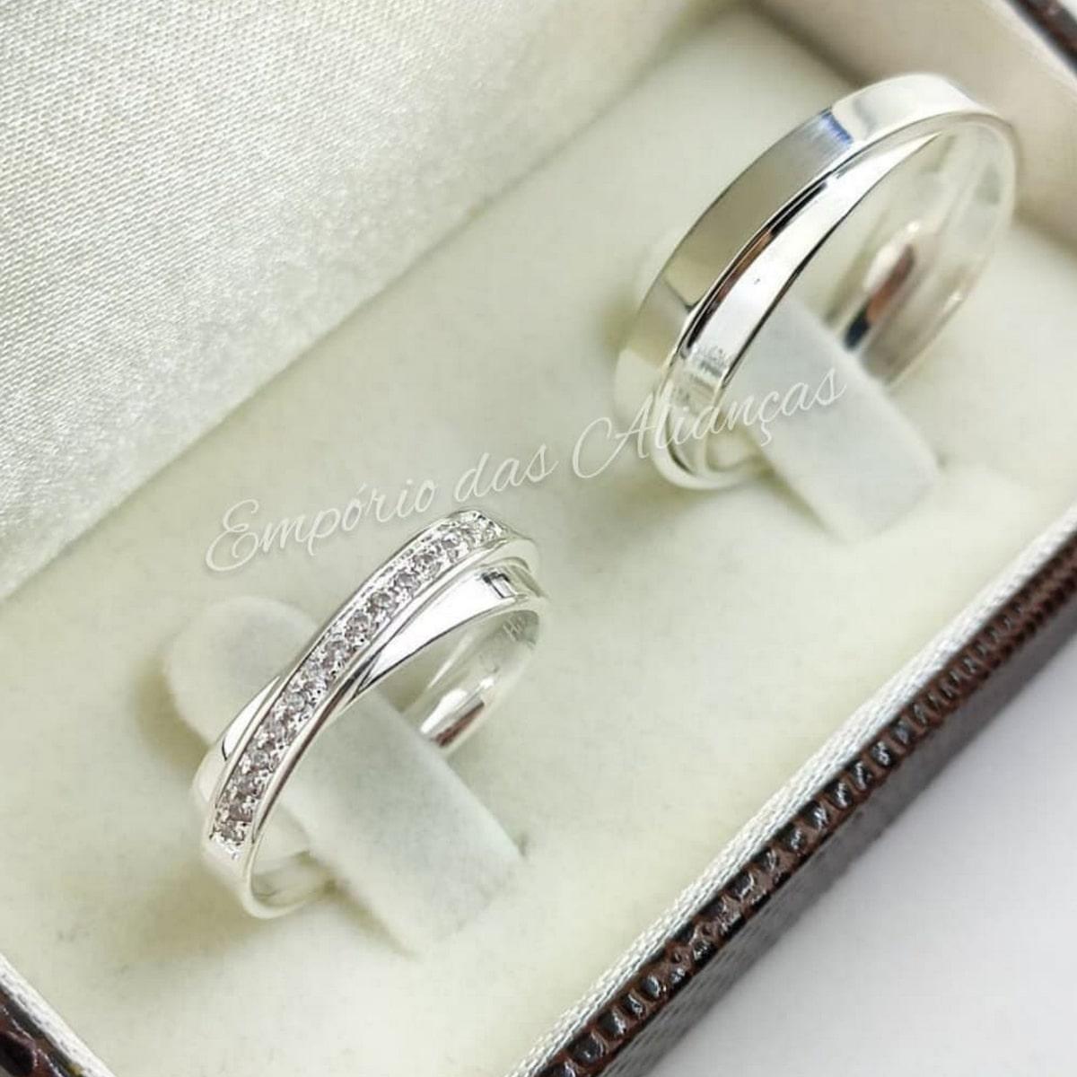 Alianças Prata Namoro Compromisso Pedra