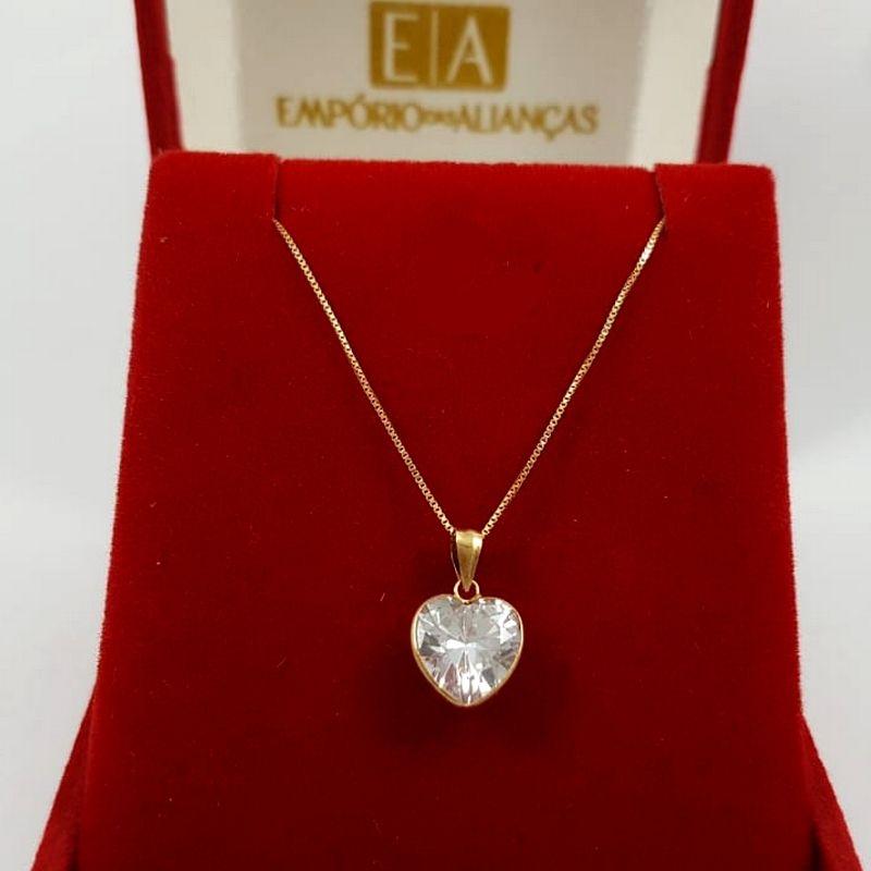 Gargantilha Ouro Feminina Coração Pedra Cristal Veneziana 45cm
