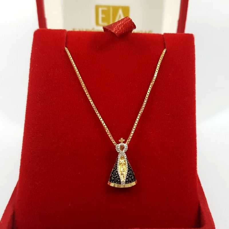 Gargantilha Ouro Feminina Nossa Senhora Aparecida 45cm Veneziana
