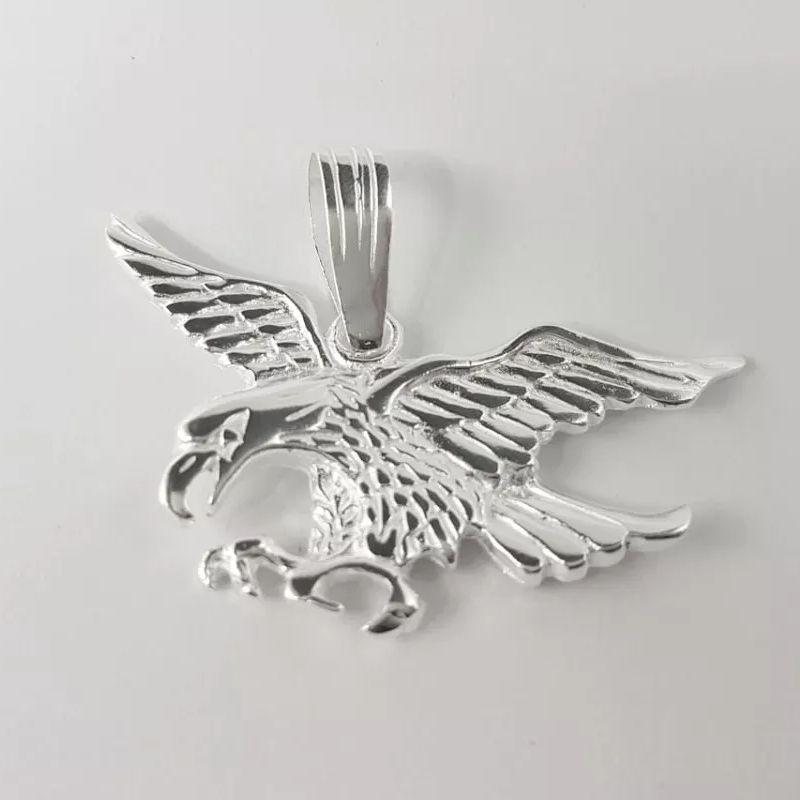 Pingente Águia Prata 925 Masculino Grande Maciço 6cm 25 Gramas