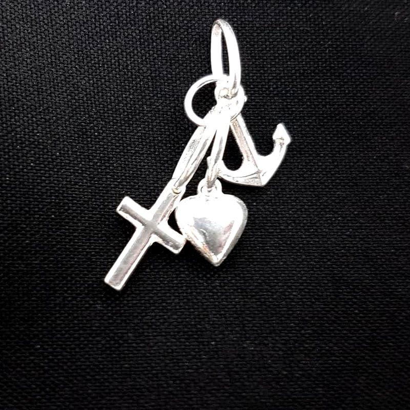 Pingente Amor Fé Caridade Prata 925 Pendurado Feminino Pendurado