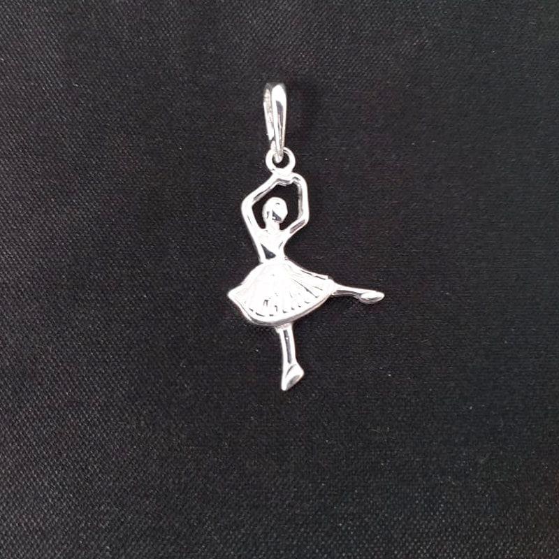 Pingente Bailarina Prata 925 Balé Feminino Médio Desenhado