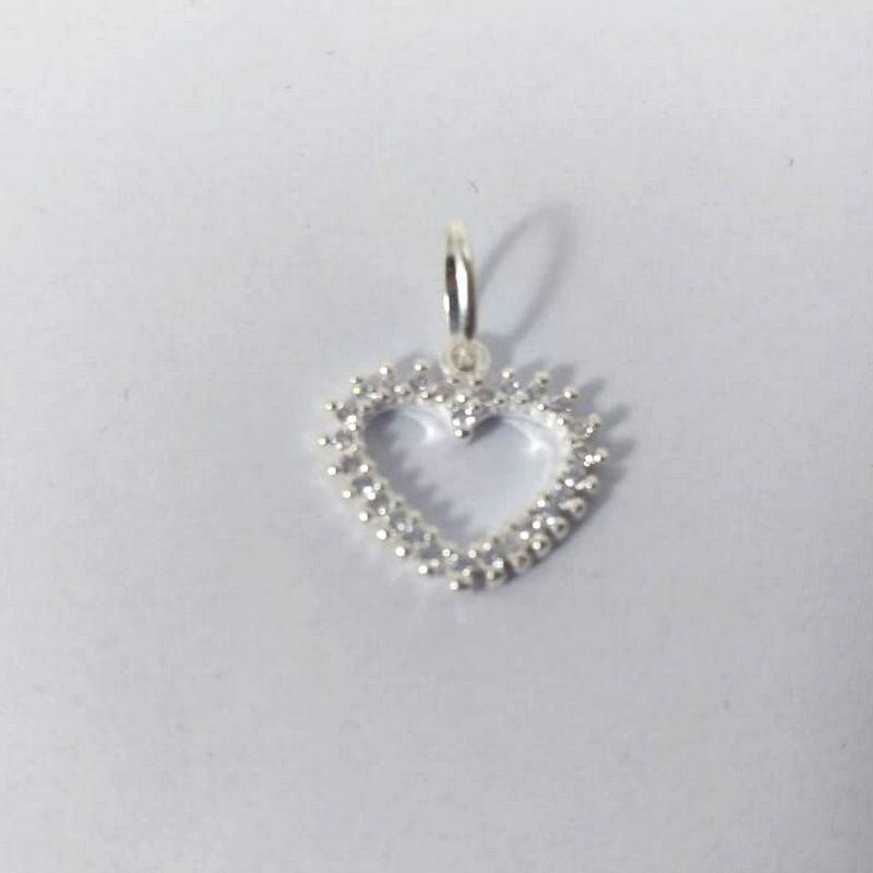 Pingente Coração Prata Feminino 925 Cravejado Pedra Zircônia Vazado