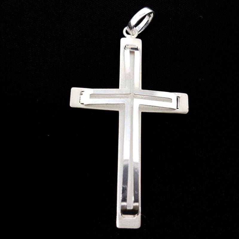 Pingente Crucifixo Prata 925 Cruz Grande Unissex Desenhada