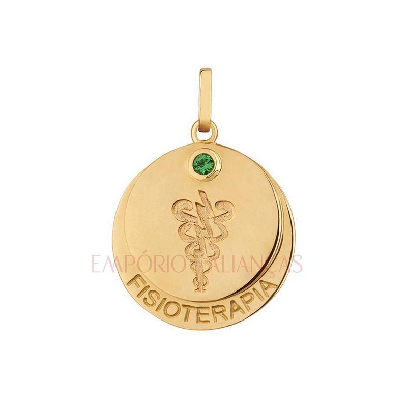 Pingente Formatura Fisioterapia Ouro 18k Redondo Pedra Zircônia Unissex