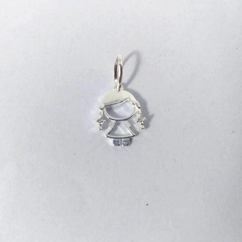 Pingente Menina Prata 925 Feminino Boneca Pedra Zircônia Vazado Polido