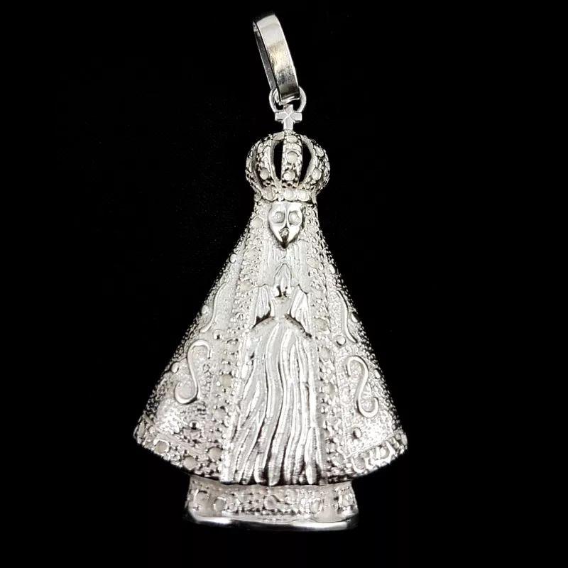Pingente Nossa Senhora Aparecida Prata 925 Grande Unissex Desenhado