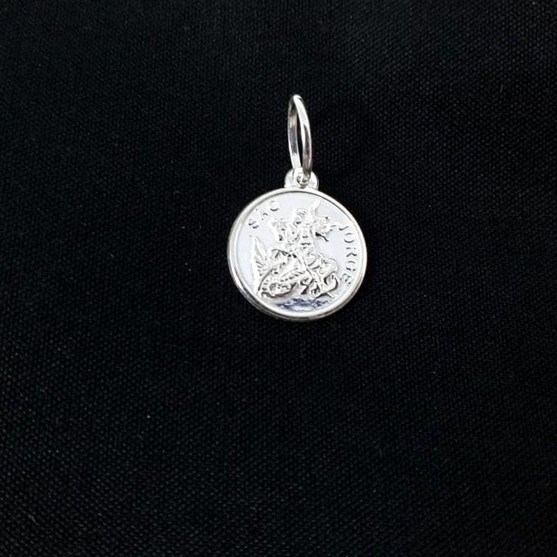 Pingente Prata 925 Medalha São Jorge Pequeno Redonda 1,10 Gramas Unissex