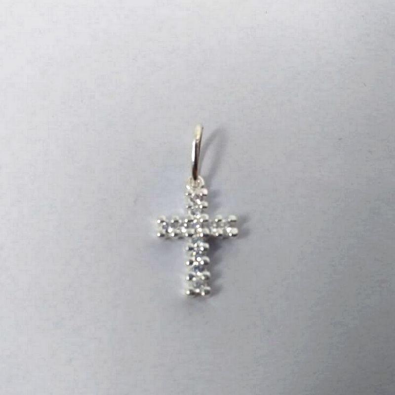 Pingente Prata Crucifixo Cruz Pequeno Cravejado Pedra Zircônia Feminino
