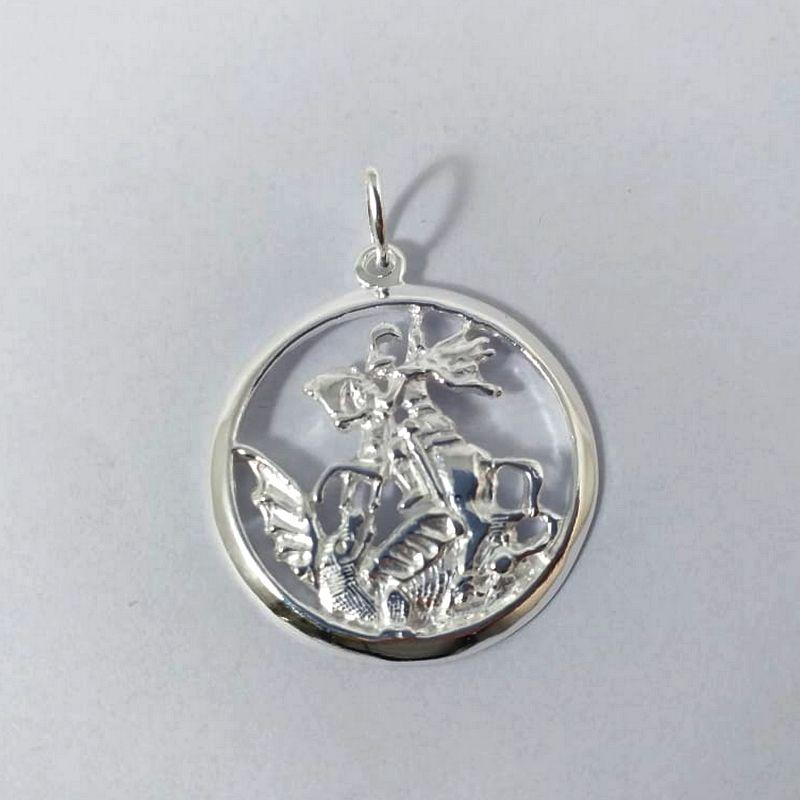 Pingente São Jorge Medalha Prata 925 Redondo Médio 5,20 Gramas Unissex