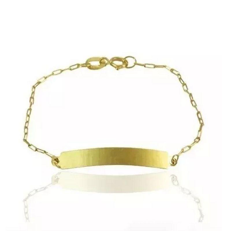 Pulseira Chapinha Infantil Ouro 18k Cartier 13cm Unissex
