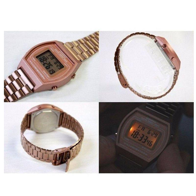 Relógio Casio Feminino Rosé Vintage Digital Aço Inox B640WC-5ADF