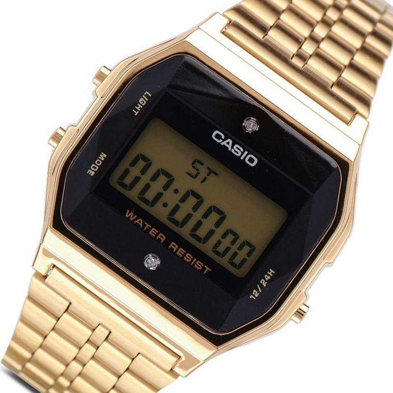 Relógio Casio Feminino Vintage Dourado Digital Pedra A159WGED-1DF