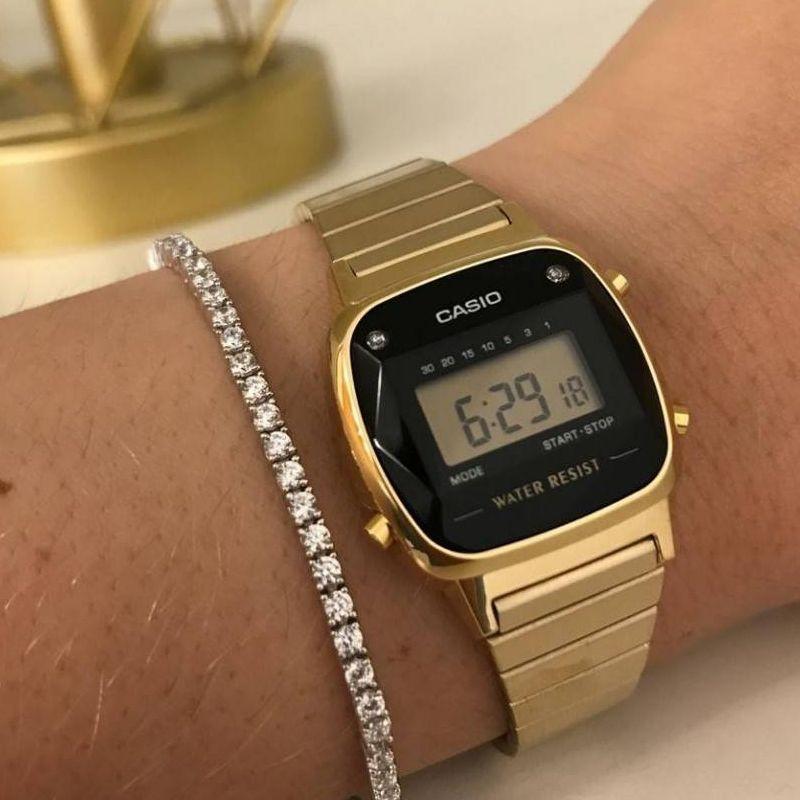 Relógio Casio Feminino Vintage Dourado Digital Pedra LA670WGAD-1DF
