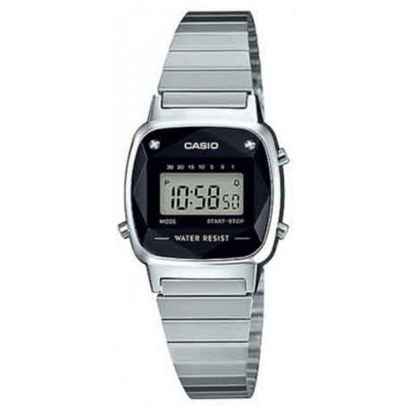 Relógio Casio Feminino Vintage Prata Digital Pedra LA670WAD-1DF